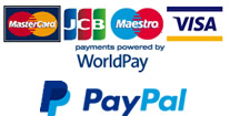 We accept payments via WorldPay and PayPal