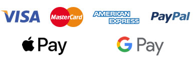 We accept payments via Visa, MasterCard, American Express, Apple Pay, Android Pay, G Pay and PayPal